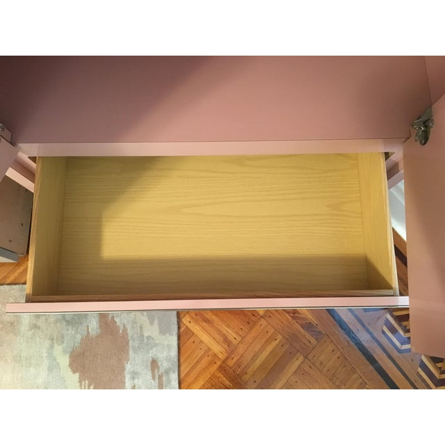 Modern Rose Pink Laminate Armoire With Brass Base For Sale - Image 9 of 12