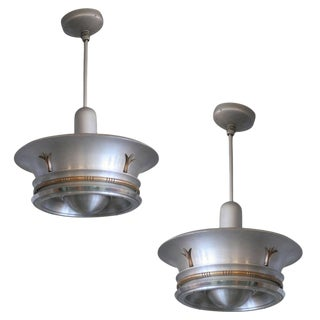 Aluminum Ceiling Pendants With Neoclassical Accents - A Pair For Sale