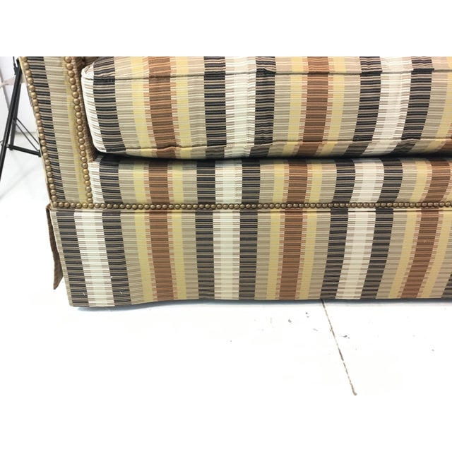 Original Retail $7440, Stylish Traditional Hickory White Earth Tone Striped Sofa, antique brass nailhead accents, showroom...