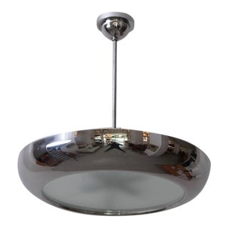 1930s Chrome and Glass Pendant Lamp by Josef Hurka for Napako, 1 of 2 For Sale