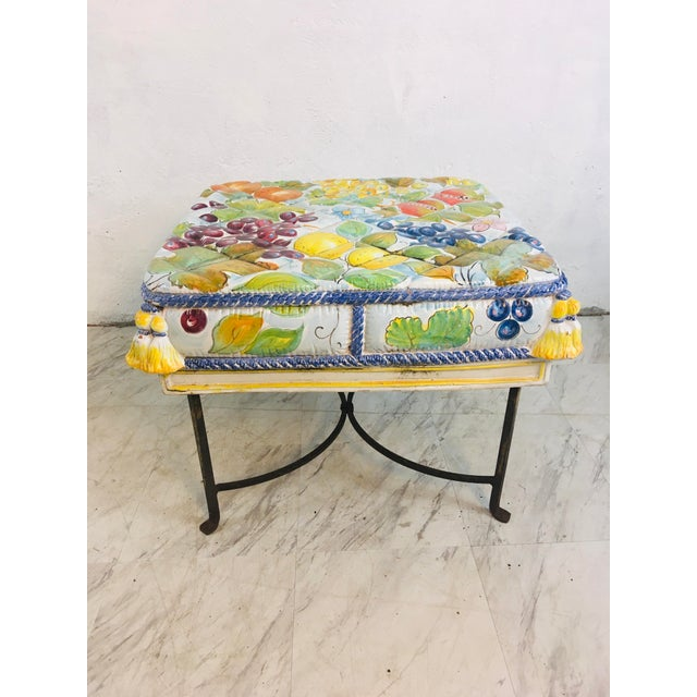 Italian Ceramic Garden Seat With Iron Base For Sale - Image 11 of 12