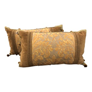 Pair Authentic Fortuny Pillows W Casa De Paris Trim For Sale