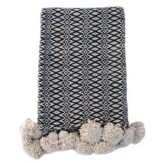 Handwoven Cotton Pom Pom Blanket For Sale