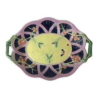 English Majolica Platter With Handles For Sale