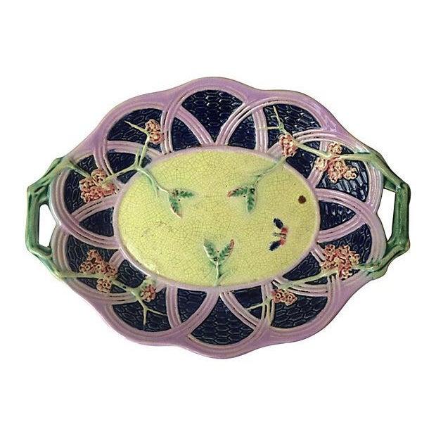 English Majolica Platter With Handles - Image 1 of 2