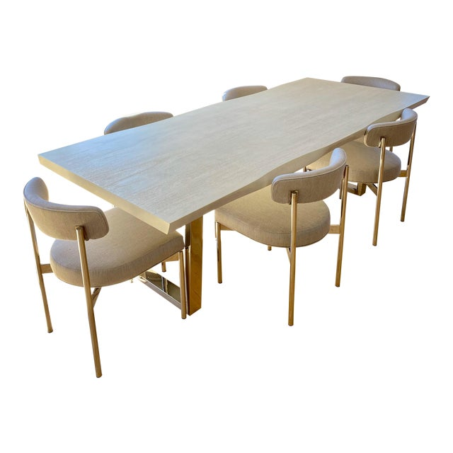 Modern White Kimora Mitchell Gold Bob Williams Dining Table & Chairs - Set of 7 For Sale