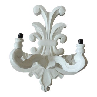 "Vintage White Plaster ""Fleur De Lis"" Wall Sconce After Dorothy Draper Style For Sale"