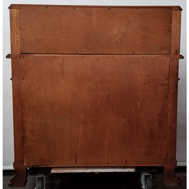 Vintage 1930s Italian Bombe Empire Style Olive Wood Bureau / Drop-Front Desk For Sale - Image 4 of 13