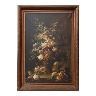 Vintage Floral Still Life Oil Painting by G. Rossi C.1940s For Sale