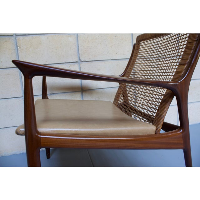 Brown Kofod Larsen Cane Back Lounge Chair For Sale - Image 8 of 11