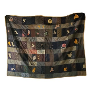 1920s Wool Bar Quilt, Appliqued & Embroidered, Signed For Sale