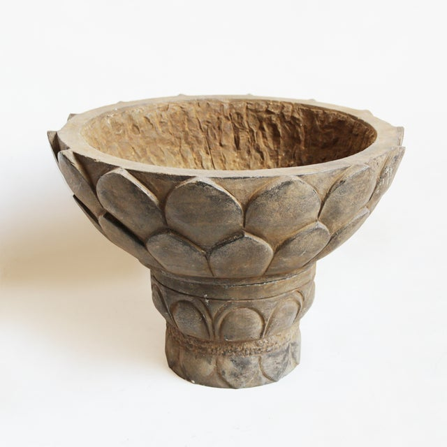 Boho Chic Black Stone Lotus Planter For Sale - Image 3 of 3