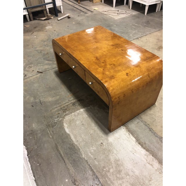 Mid-Century Art Deco Burlwood Double Sided Curved Coffee Table For Sale - Image 4 of 5