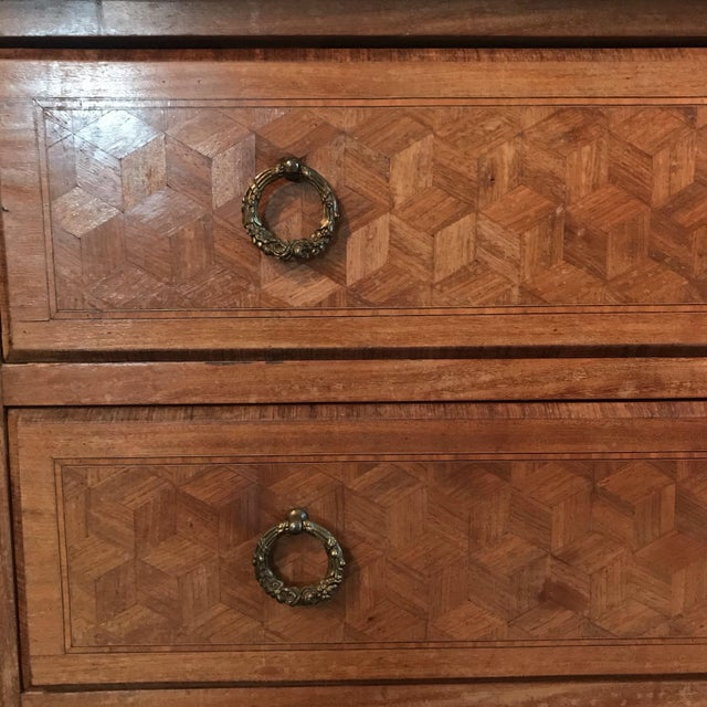 French Antique Marquetry Commode or Chest of Drawers With Marble Top For Sale - Image 11 of 13