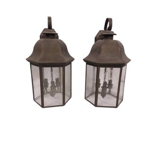 Large Copper/Brass Patina Architectural Outdoor Wall Hanging Copper Lanterns - Pair