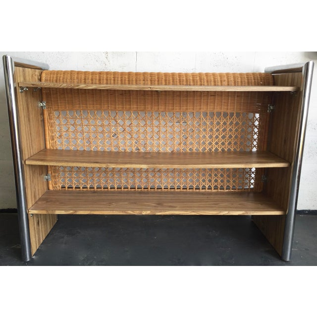 1970's Chrome,Faux Wood & Rattan Bar - Image 4 of 5