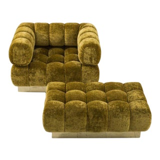 Todd Merrill Custom Originals Tufted Club Chair and Ottoman For Sale