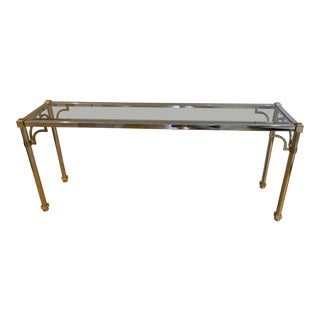 1960s Hollywood Regency Maison Jansen Chrome, Brass & Glass Console Table For Sale