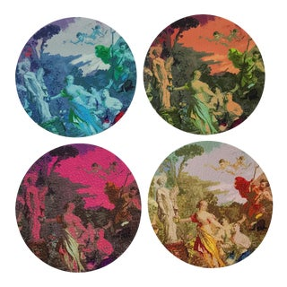 Cyprus Picnic Coasters, Set of 4 For Sale