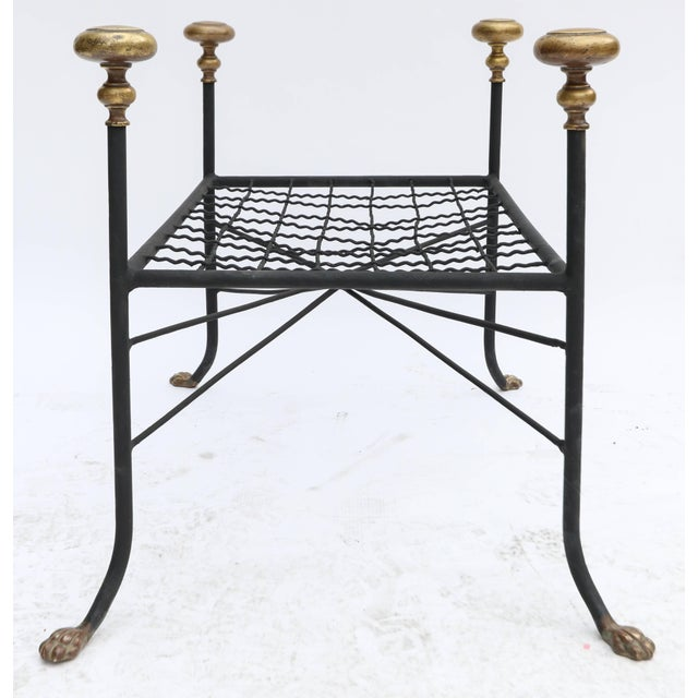 1960s Black Metal Bench or Stool With Brass Finials and Claw Feet For Sale - Image 5 of 7