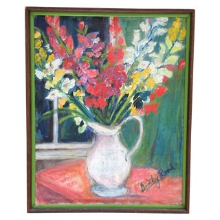 Vintage Floral Painting in Wooden Frame