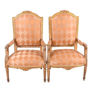 Pair of Gilded Gustavian Armchairs For Sale