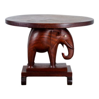 1940 African Mahogany Elephant Side Table For Sale