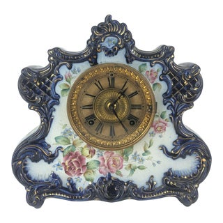 Early 20th Century Porcelain Mantle Clock For Sale