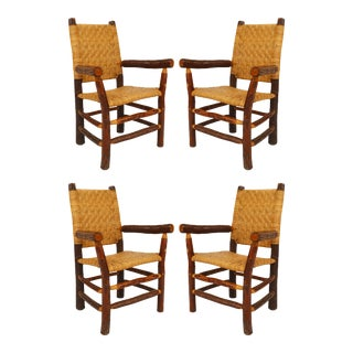 Old Hickory American Rustic Woven Arm Chairs - Set of 4 For Sale