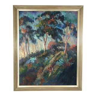 Late 20th Century Framed Eucalyptus Trees at Sunset Landscape Oil Painting For Sale