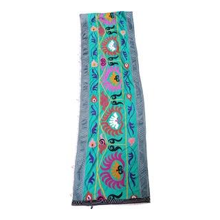 Vintage Turkish Green Silk Embroidered Suzani Runner For Sale