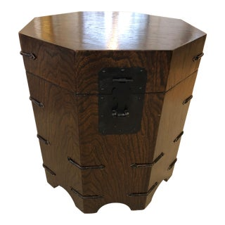 1950s Asian Dark Wood Octagonal Chest/End Table For Sale