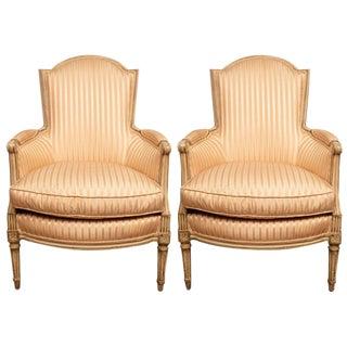 Pair of Louis XVI Style Painted Bergères