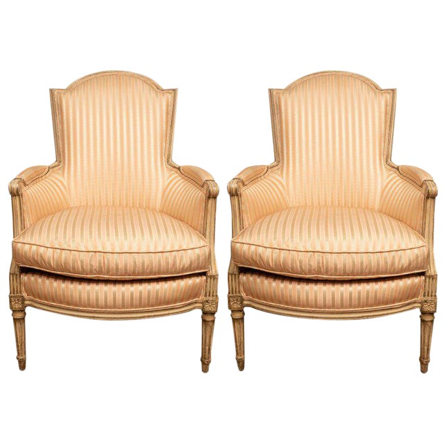Pair of Louis XVI Style Painted Bergères For Sale