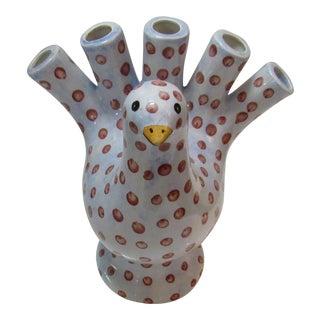 Vietri Bird Dove Pigeon Porcelain Tulip Vase For Sale