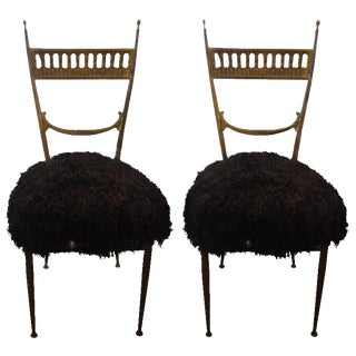 Circa 1950 Italian Brass Chiavari Chairs in Black Mongolian Lambs Wool - A Pair