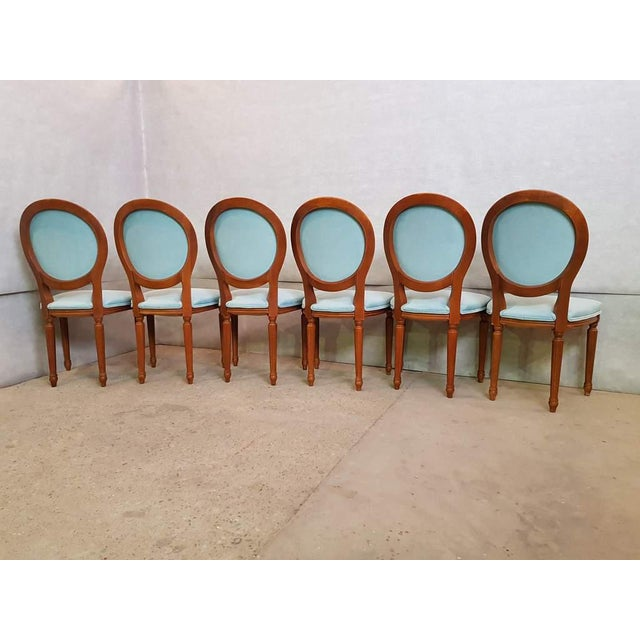 Set of 6 Vintage French Reupholstered Blue Turquoise Louis XVI Medallion Dining Chairs For Sale - Image 10 of 13