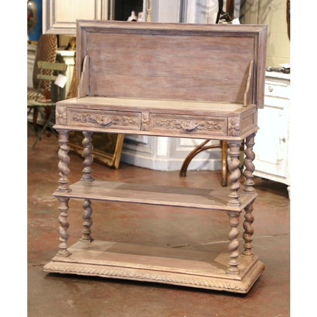 19th Century French Henri II Carved White Washed Oak and Marble Sideboard Server For Sale - Image 4 of 13