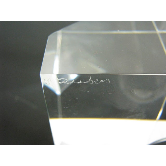 Vintage Steuben Crystal Floating Spheres Cube Prism Paperweight Signed For Sale - Image 10 of 13