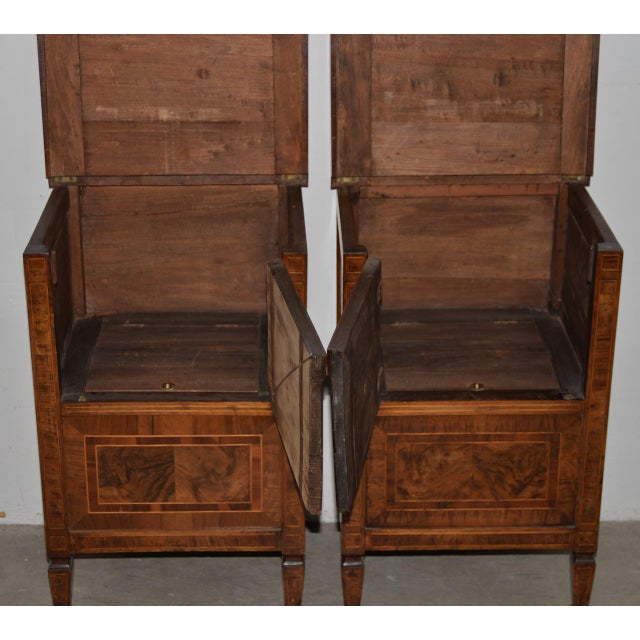 Pair of Magnificent Late 18th to Early 19th Century Walnut Side Tables w/ Cabinets These beautiful side tables with inlay...
