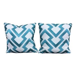 Embroidered Braunschweig & Fils Fabric Chevron Pattern Pillows - a Pair For Sale