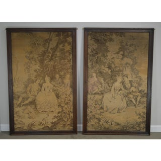 Large Antique Pair of French Tapestry in Oak Frames Preview