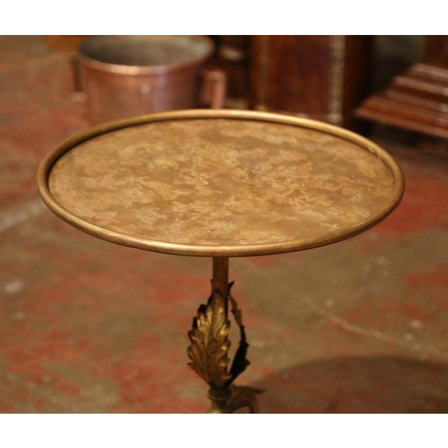 Gold Early 20th Century French Gilt Painted Iron Pedestal Martini Side Table For Sale - Image 8 of 9