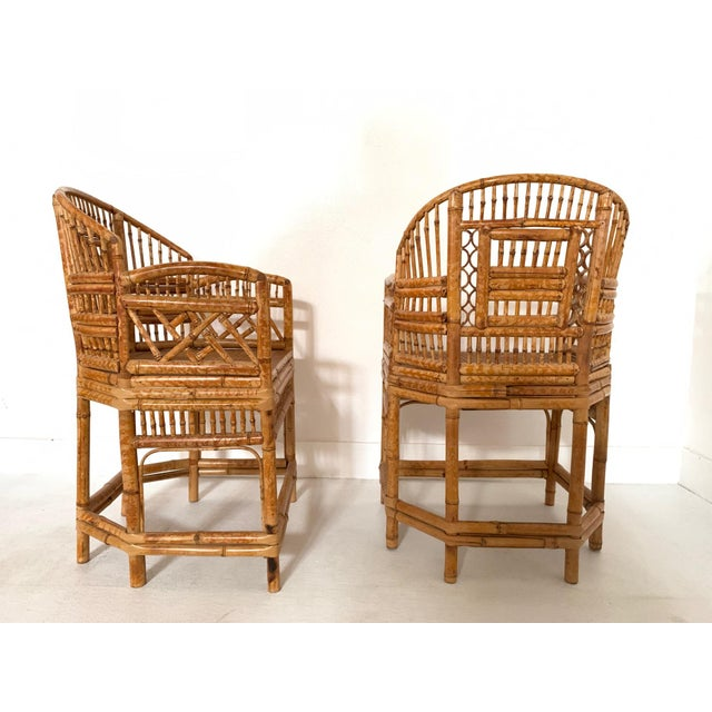 Asian Pair of 1970s Bamboo Side Chairs For Sale - Image 3 of 11