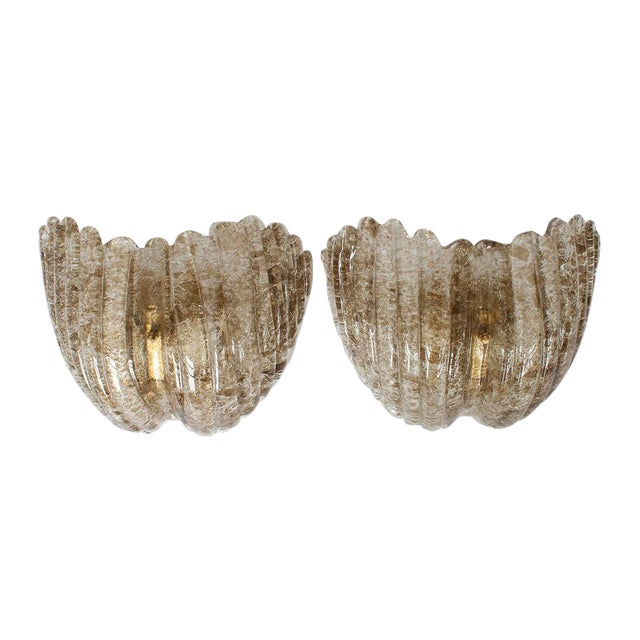 J.T. Kalmar Smokey Topaz Glass Shell Form Sconces - A Pair - Image 1 of 5