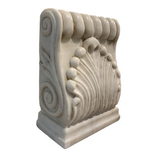 Carved Neoclassical White Marble Corbel For Sale