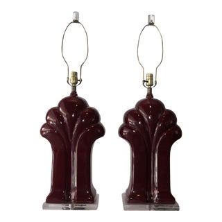 1980's Burgundy Polished Scalloped Lamps - A Pair For Sale