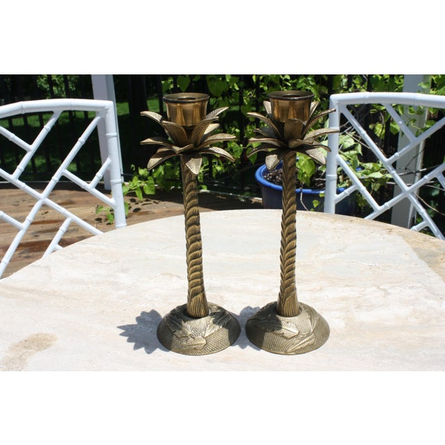 Vintage Brass Palm Tree Candleholders - a Pair - Image 2 of 7
