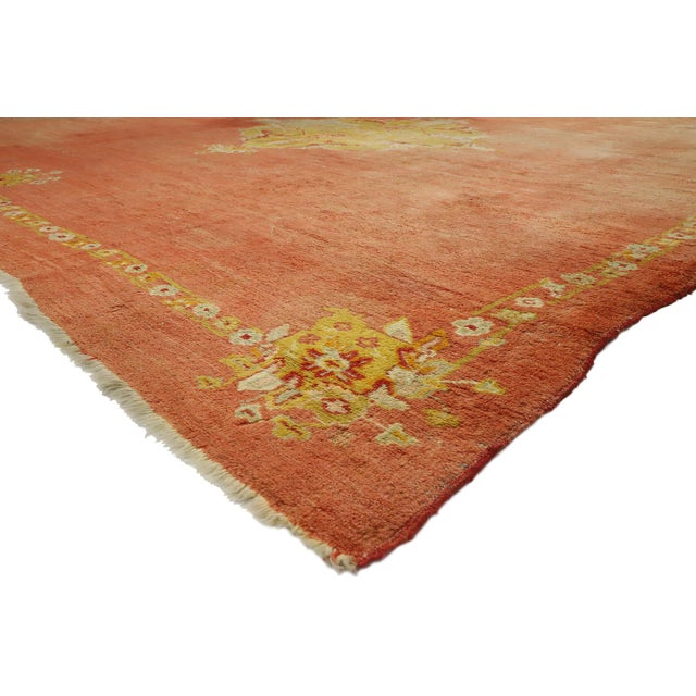77261 Distressed Antique Turkish Oushak Rug with Rustic English Manor Style. Balancing a timeless medallion design with a...