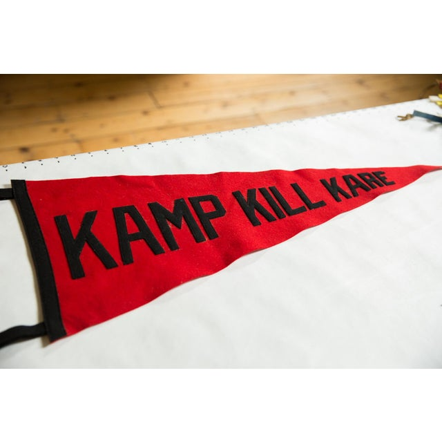 :: Rare vintage circa 1940s (may be much older) souvenir felt flag banner pennant with sewn letters from Kamp Kill Kare,...